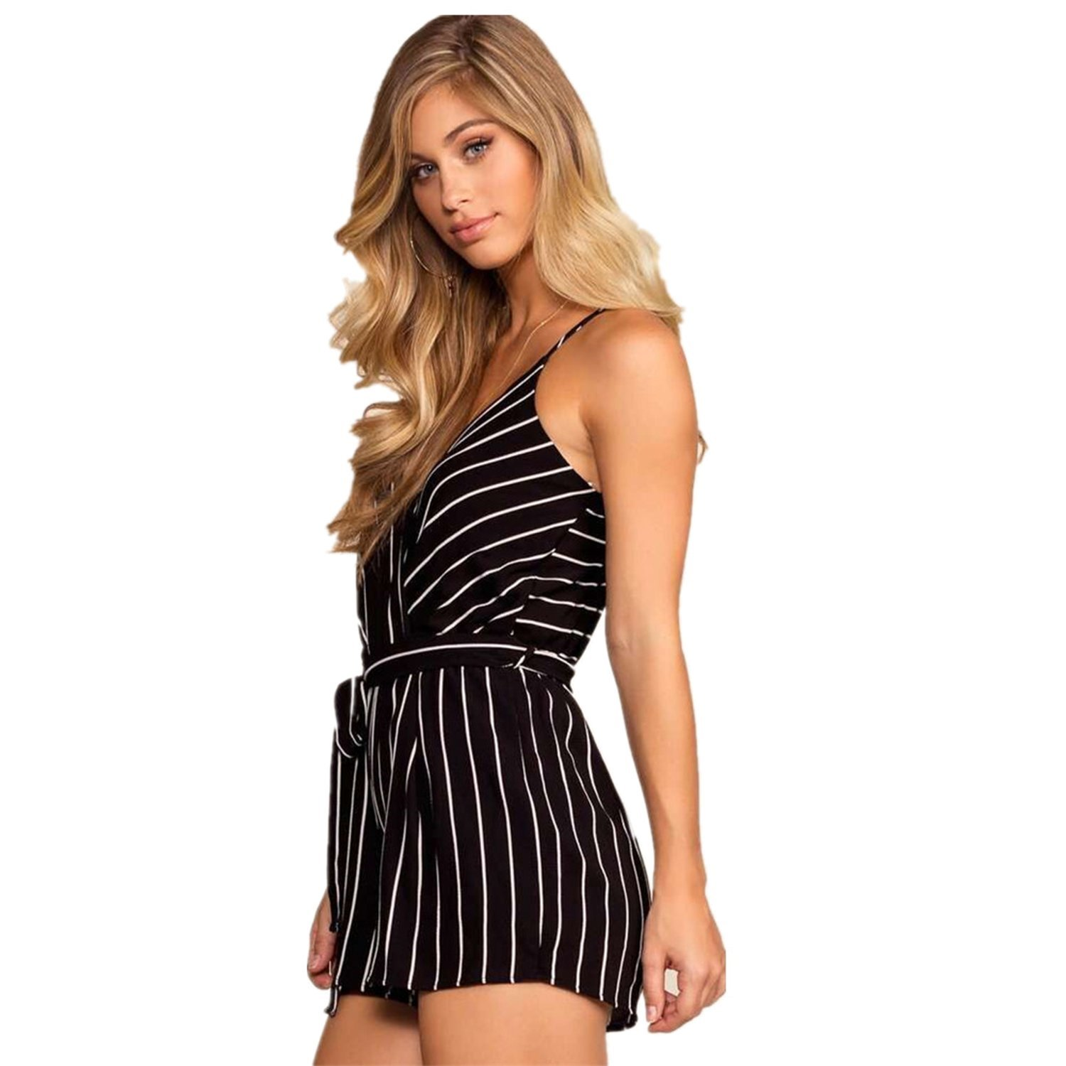 OUMAL Striped Rompers for Women Cute Summer Spaghetti Strap Dressy Short Rompers(Black,XL