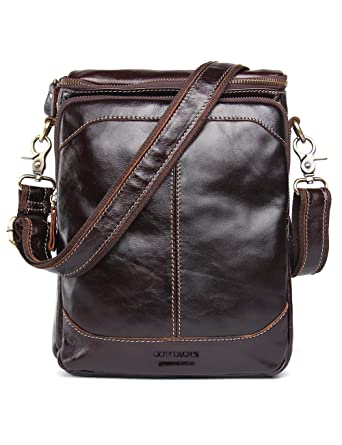 946bff7760 Contacts Genuine Leather Men 10 quot  Messenger Crossbody Shoulder Bag  Small Travel Handbag Dark Brown