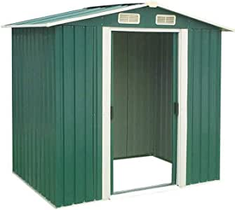 Incbruce Outdoor Storage Lawn Steel Roof Style Sheds 4' x 6' Outside Tool House with Sliding Door (Green)