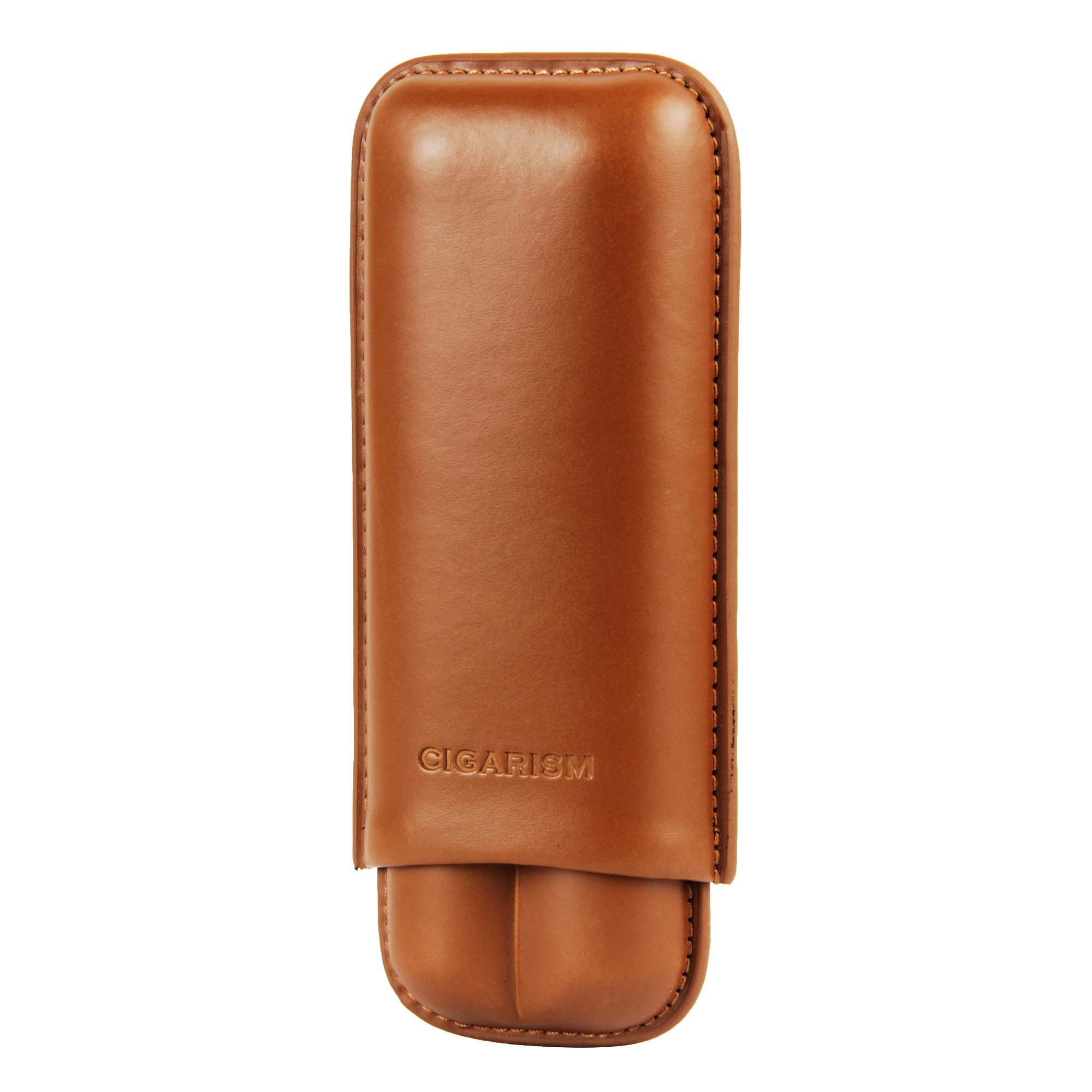 CIGARISM Brown Genuine Leather Cigar Travel Holder Case 2 Count