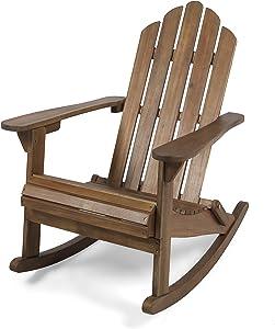 Great Deal Furniture Cara Outdoor Adirondack Acacia Wood Rocking Chair, Dark Brown Finish