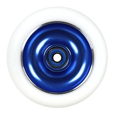 Kick Push Aluminum hub Scooter Wheel with Bearings, Blue/White, 100mm : Sports & Outdoors