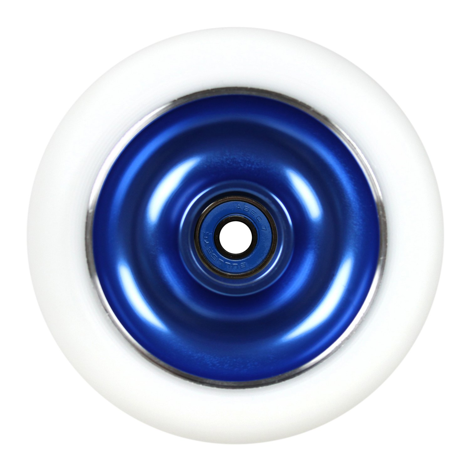 Kick Push Aluminum hub Scooter Wheel with Bearings, Blue/White, 100mm