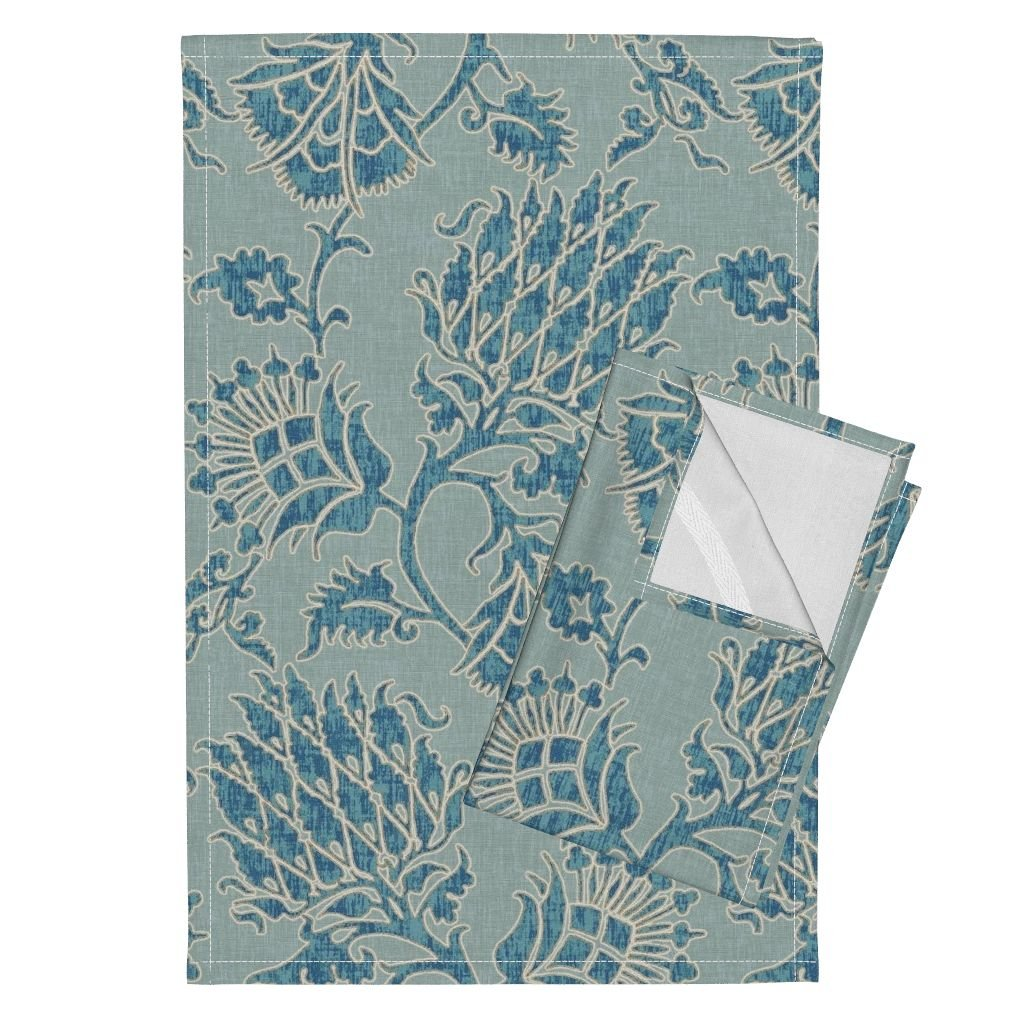 Roostery Damask Floral Historic Blue Spa Sparrowsong Tea Towels Contessa/Mineral by Willowlanetextiles Set of 2 Linen Cotton Tea Towels