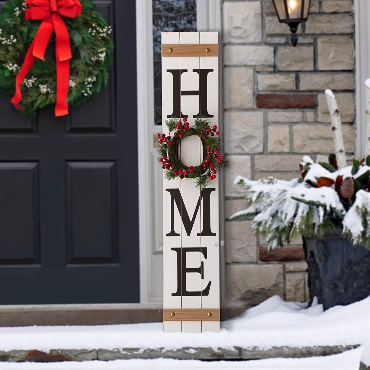"""Glitzhome Wooden Welcome Sign for Front Door Porch Rustic Farmhouse Wall Hanging Home Sign with 3 Changeable Floral Wreath for Fall Thanksgiving Christmas Spring, 42""""H"""