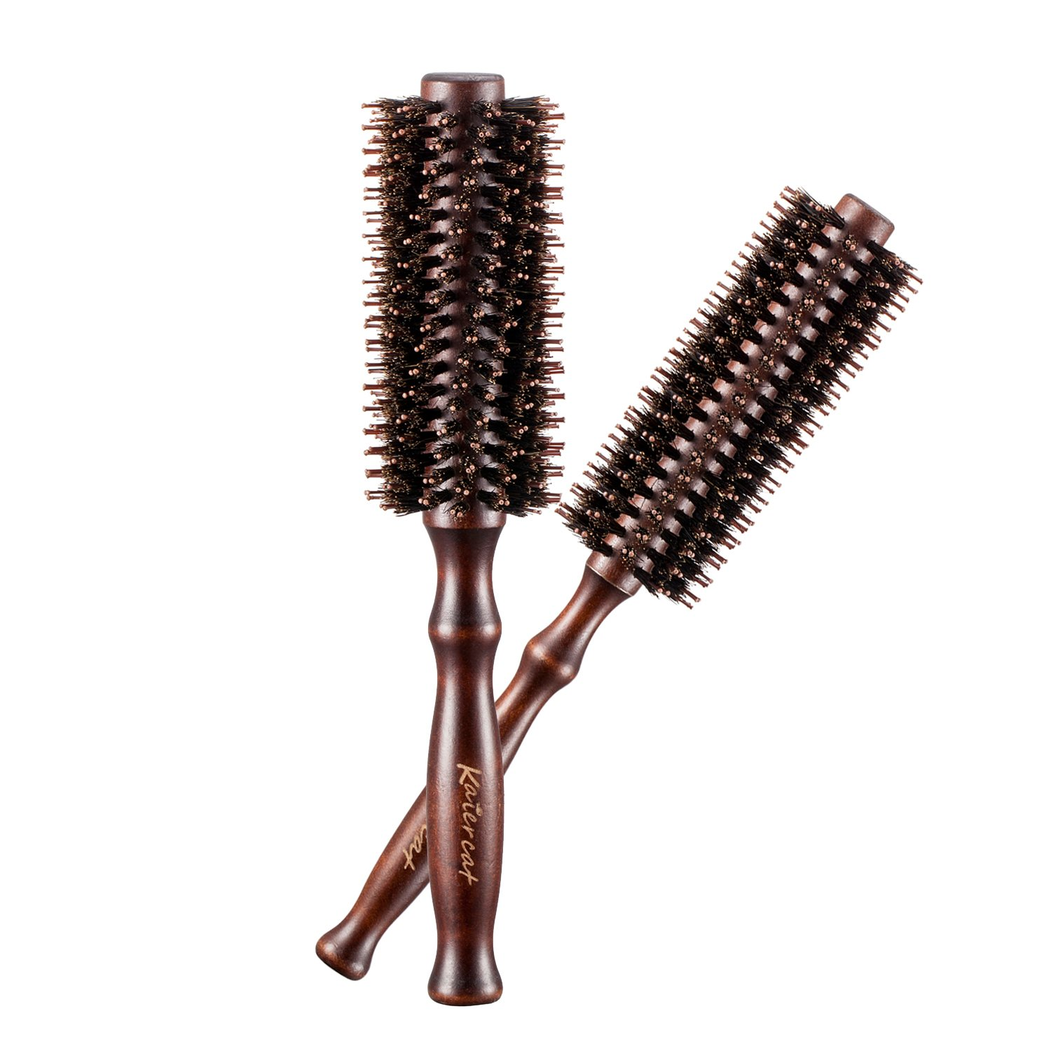 Kaiercat Natural Boar Bristles Hair Brush Pairs Round Curling Combs (Diameter 2 Inch+1.6 Inch) For Short to Long Hair