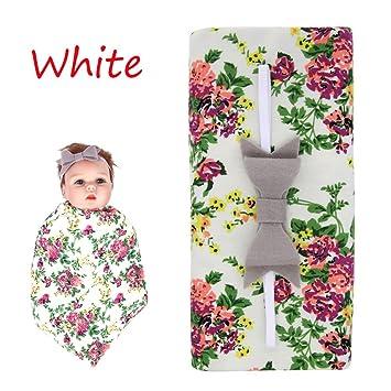 Floweryua Fashion Infant Newborn Knit Cotton Bow Knot Hairbands Baby  Headband   Blanket Sets Floral Burp 0bf93248d2c
