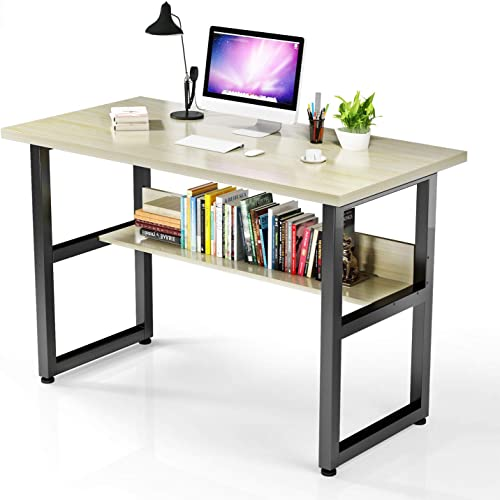 VIPEK Computer Desk with Bookshelf Office Desk with Bookends Workstation Writing Table for Office Furniture Soho Natural Wood Color 47 x23.6 x29.5 Modern Simple Style