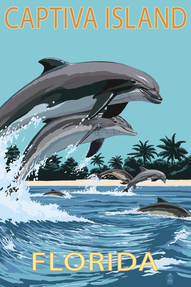 Captiva Island, Florida - Dolphins Swimming (9x12 Art Print, Wall Decor Travel Poster)