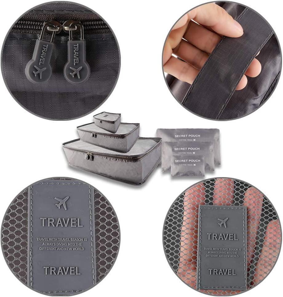 Grey 6PCS Packing Cubes Phogary Travel Storage Bag Organizer Luggage Compression Pouches Value Set Medium Small Suitcase