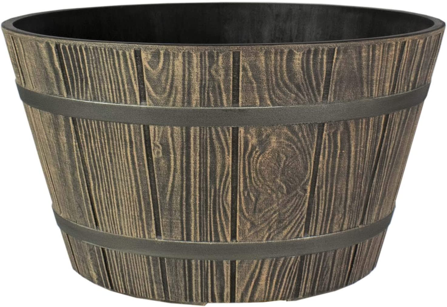 The HC Companies WBP16000P82 Whiskey Barrel Planter, Aged Oak