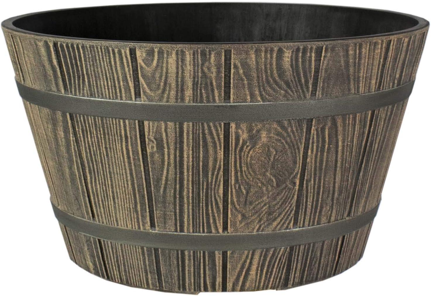 The HC Companies WBP16000P82 Whiskey Barrel Planter, Aged Oak