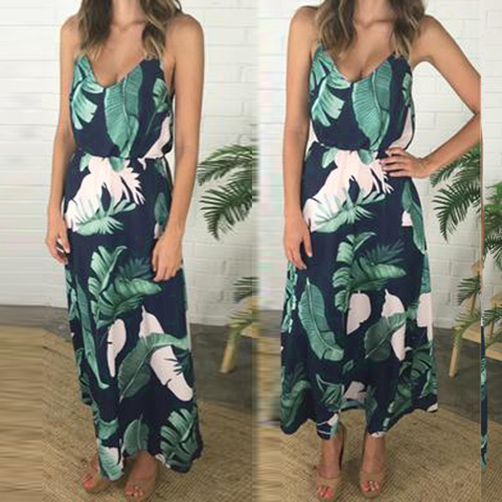 Dress for Womem Floral Leaves Print Cute Party Clubwear Strappy Sleeveless Bohe Beach Dress