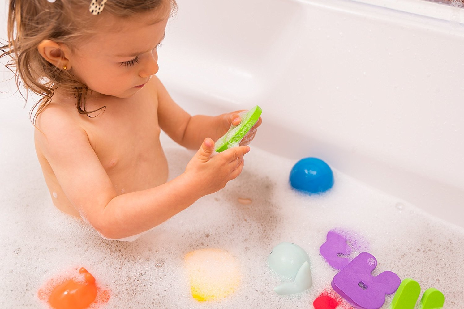 gufolino Baby Bath Toys - 36 Foam Letters and Numbers + Bathtub Toys Organizer and Inflatable Waterproof Book for Toddlers (Multicolor) by gufolino (Image #4)