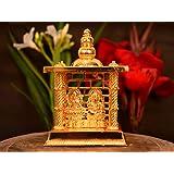 Collectible India Metal Gold Plated Laxmi Ganesha Decorative Temple Figurine Lord Ganpati Lakshmi Statue Good Luck Spiritual Diwali Pooja Gifts Idols(Size 5 x 3.5 Inches, Small)