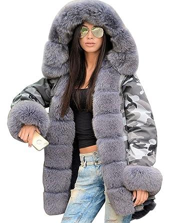 Hufcor Women Militray Outdoor Parka Hoodie Fur Lining Jacket Coat Winter  Overcoat 55b364b0f0