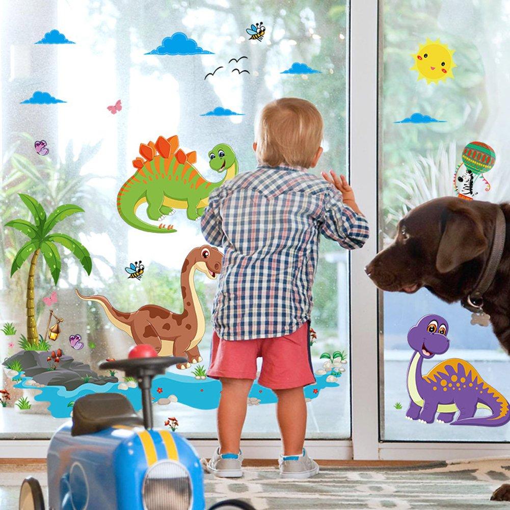 Wallpark Dibujos animados Dinosaurio Mundo Desmontable Pegatinas de Pared Etiqueta de la Pared, Bebé Niños Hogar Infantiles Dormitorio Vivero DIY ...