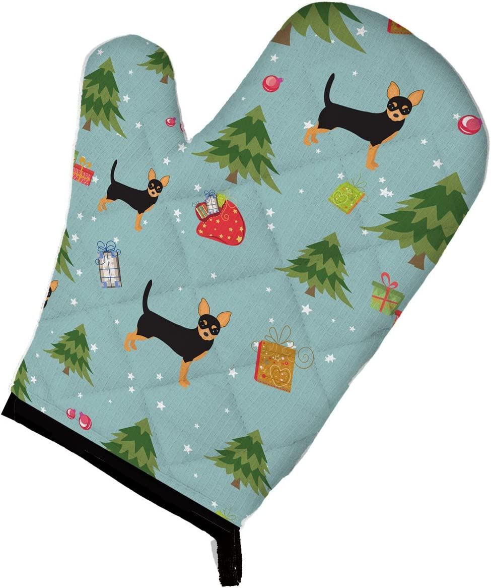 Caroline's Treasures BB4930OVMT Christmas Black Tan Chihuahua Oven Mitt, Large, multicolor