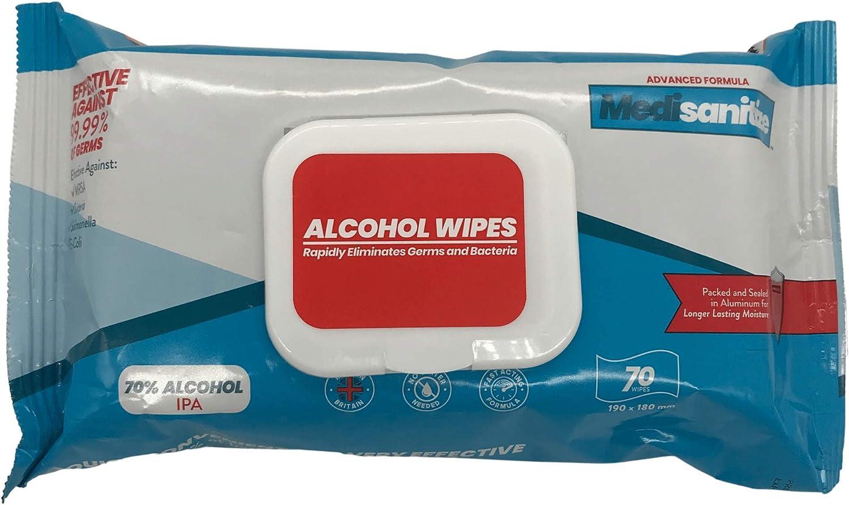 Lingettes pour d/ésinfecter et d/ésinfecter Lingettes antibact/ériennes 70 /% alcool pour d/ésinfecter et nettoyer les surfaces /à action rapide 70 lingettes par paquet