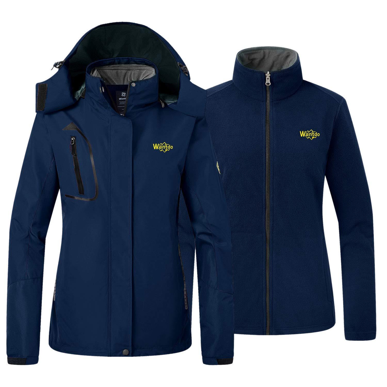 Wantdo Damen Fleece 3 in 1 Interchange Skijacke Wasserdicht Isolierte Mantel