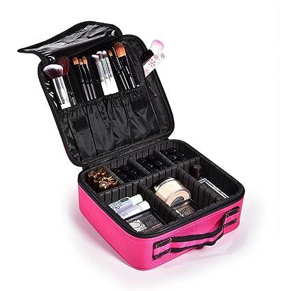 Maletín para Maquillaje, Estuche Organizador de Cosméticos Brochas, Ligero y Pequeño conveniente de llevar, 24x20x9,5cm, Color Negro, Uuhome