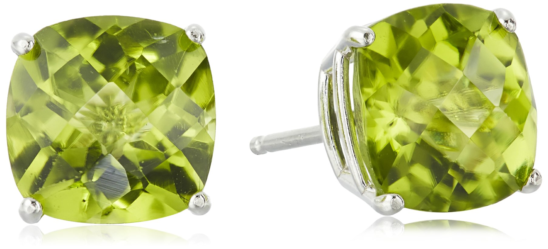 Sterling Silver Cushion Checkerboard Cut Peridot Studs (8mm)