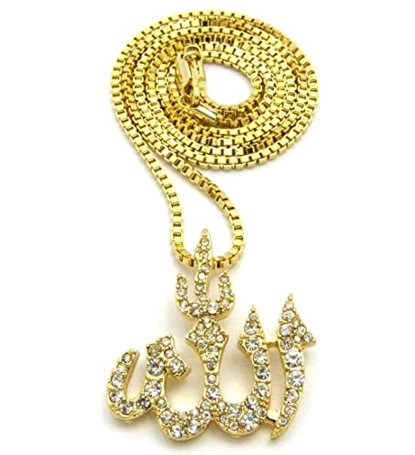 Iced out arabic allah pendant 24 various chain necklace in gold iced out arabic allah pendant 24quot various chain necklace in gold tone 2mm 24quot aloadofball Gallery