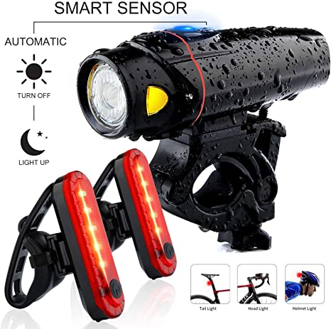 Cycling Bike 3 LED Head Taillight Sets Front Tail Light Lamp USB Rechargeable UK
