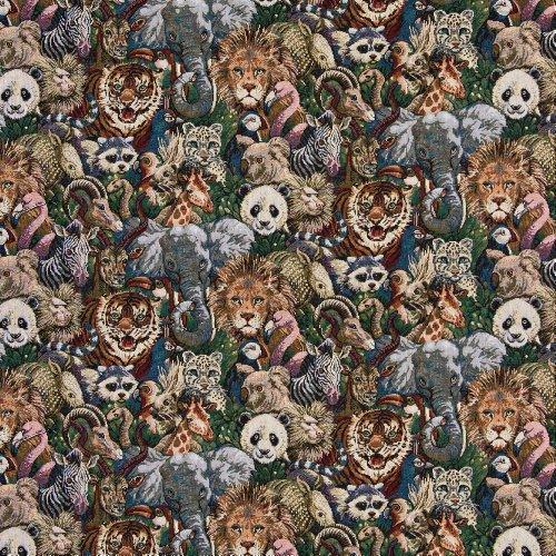 Jungle Safari Tiger Panda Elephant Lion Monkey Zebra Koala Zoo Theme Tapestry Upholstery Fabric by the (Monkey Upholstery Fabric)