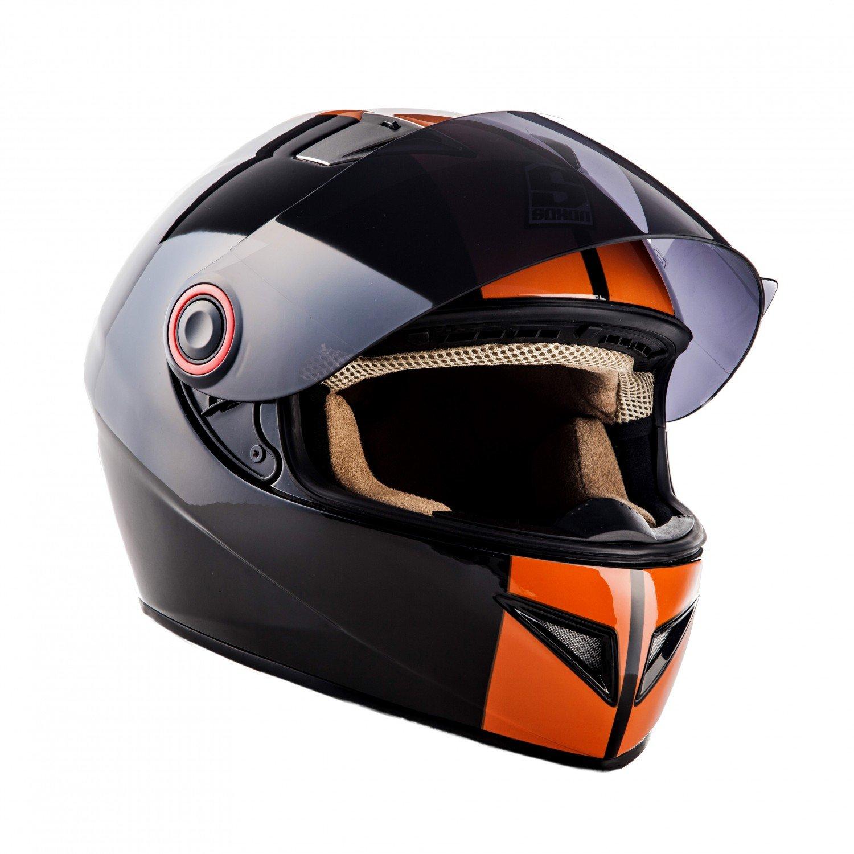 SOXON ST-666 Deluxe White Black /· Scooter Sport Moto Helmet Casque Integral Fullface Cruiser Urban Moto-Casque /· ECE certifi/és /· y compris le pare-soleil /· y compris le sac de casque /· Blanc /· M 57-58cm