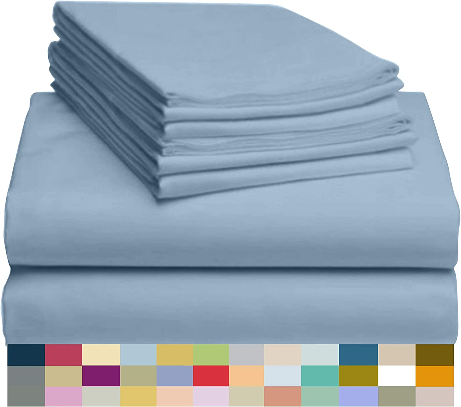 """LuxClub 6 PC Sheet Set Bamboo Sheets Deep Pockets 18"""" Eco Friendly Wrinkle Free Sheets Hypoallergenic Anti-Bacteria Machine Washable Hotel Bedding Silky Soft - Sky King"""