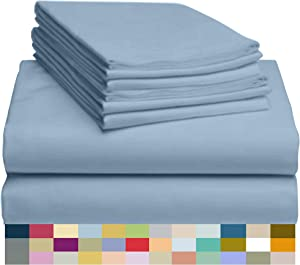 "LuxClub 6 PC Sheet Set Bamboo Sheets Deep Pockets 18"" Eco Friendly Wrinkle Free Sheets Hypoallergenic Anti-Bacteria Machine Washable Hotel Bedding Silky Soft - Sky King"