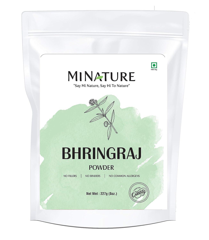 mi nature Bhringaraj powder Eclipta Prostrata, leaf powder / 100% Pure, Natural and Organic / (227g / (1/2 lb) / 8 ounces) - Resealable Zip Lock Pouch