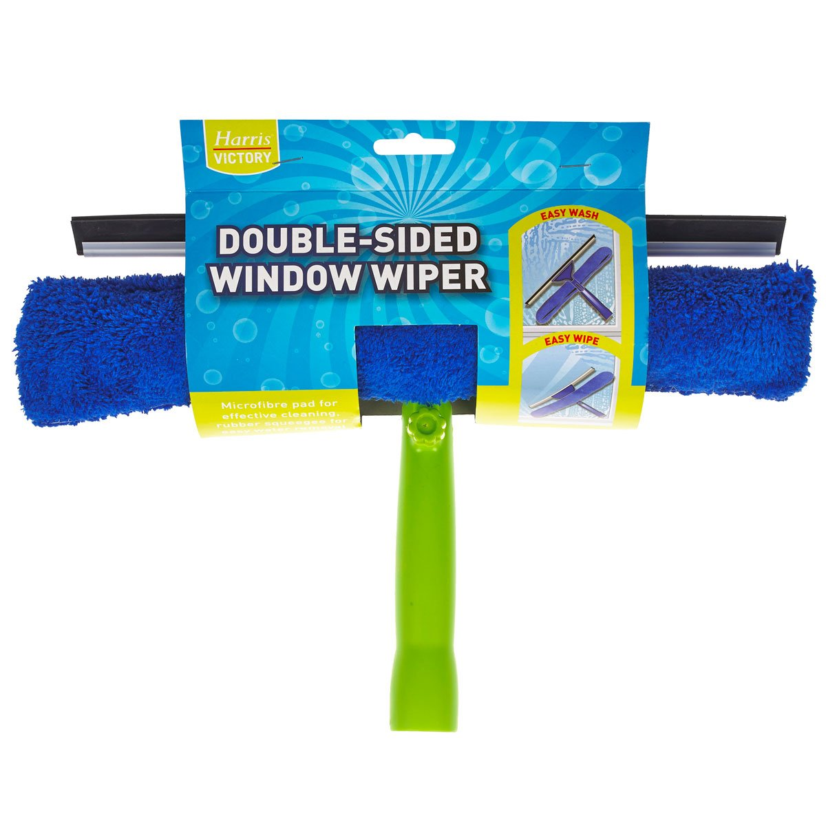 Harris DOUBLE SIDED GLASS WINDOW CLEANER CLEANING WIPER RUBBER BLADE SHOWER SCREEN WASH WASHER & WIPE MICROFIBRE PAD SQUEEGEE