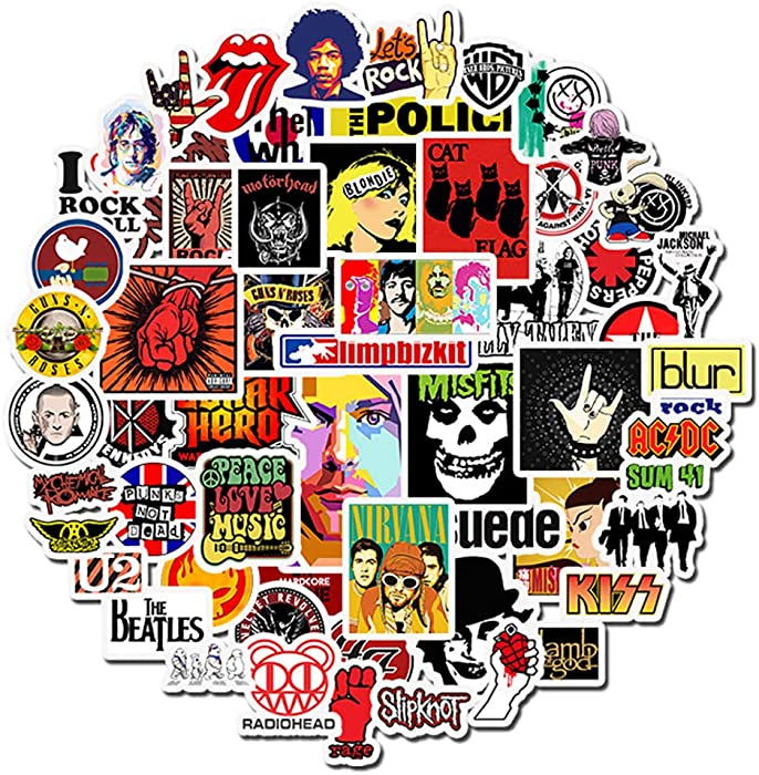 50 Pcs Waterproof Stickers Pack for Rock Music, Non-repetitive Vinyl Stickers for Laptop Waterbottle Flasks MacBook Copmputer Car Bike Guitar, Funny Decals Stickers for Kids Teens Boys Girls.
