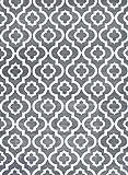 Persian-Rugs Moroccan Trellis Area Rug Carpet, 5 x 7-Feet, Gray