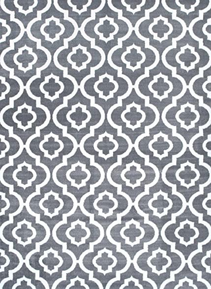 Persian Rugs Moroccan Trellis Area Rug Carpet, 5 X 7 Feet, Gray