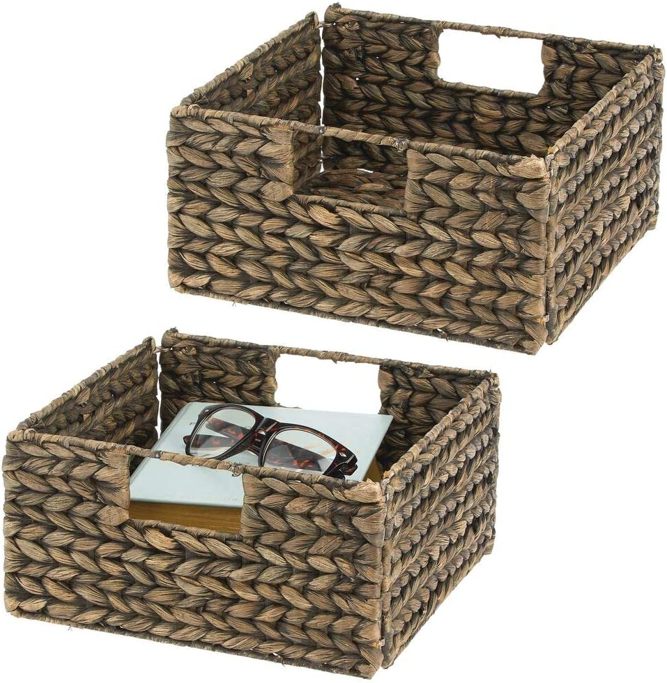mDesign Woven Hyacinth Closet Storage Organizer Basket Bin - Collapsible - for Cube Furniture Shelving in Closet, Bedroom, Bathroom, Entryway, Office, 2 Pack - Brown