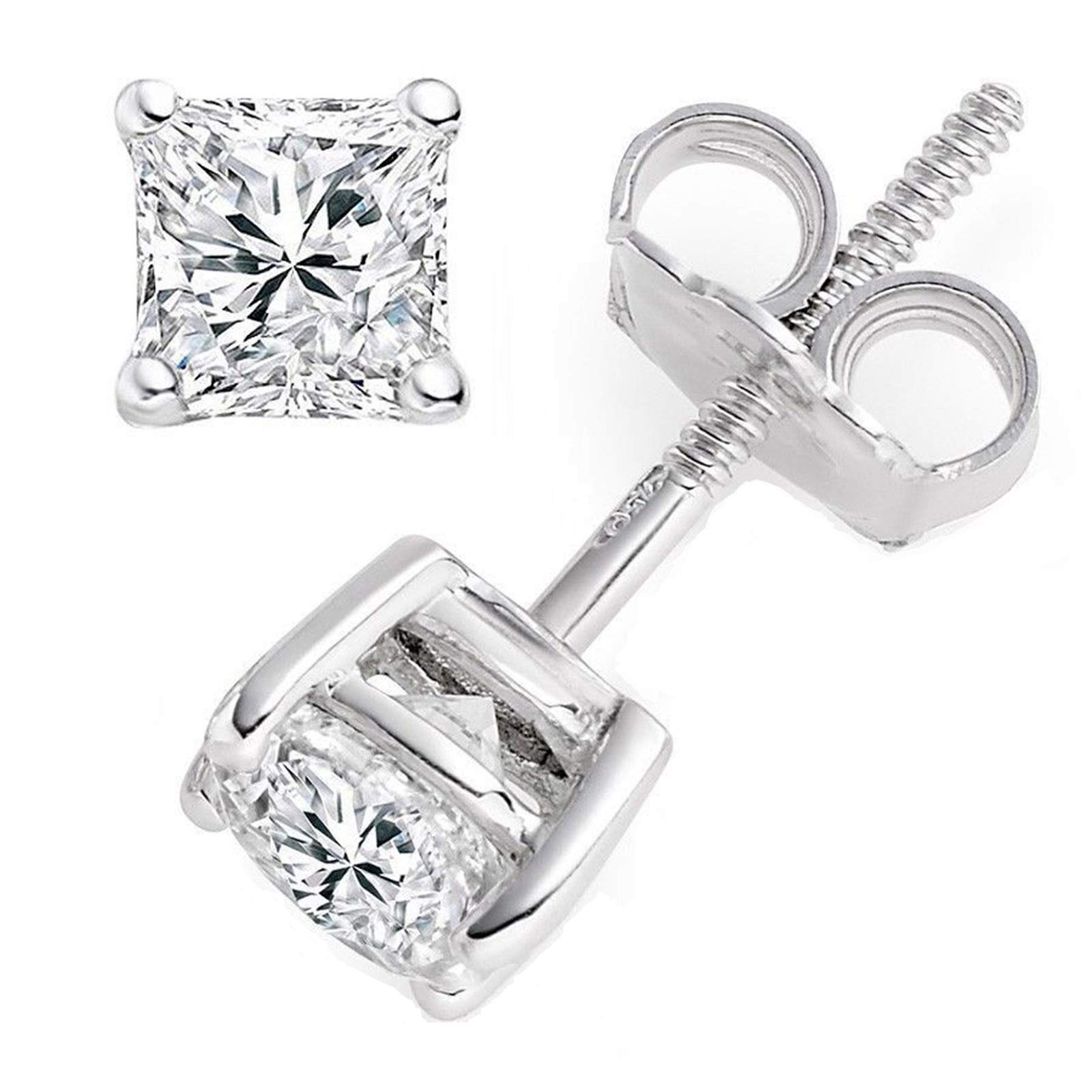 2.10 CT Princess Brilliant Cut CZ Solitaire Stud Earrings in 14k White Gold Screw Back