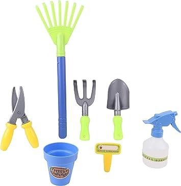N\C Mini juego de herramientas de jard/ín 6 piezas miniatura rastrillo de jardiner/ía paleta y pala suculentas herramientas de trasplante para pl/ántulas Bonsai mango de madera Kit