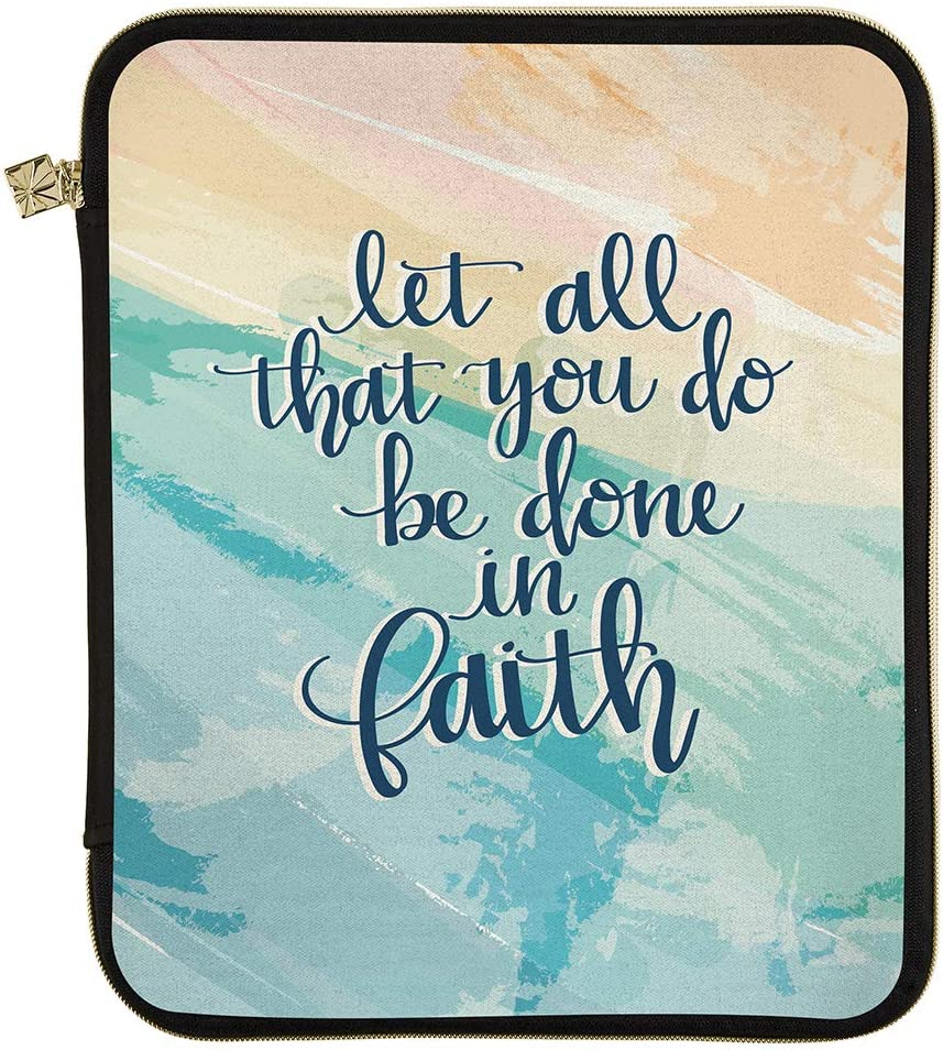 """Erin Condren Planner Folio - Faith Quote - Large (10.5"""" x 13"""") - Organize on The Go with Storage for Books, Planners, Notebooks. Use as Laptop Case with Pen Holder, Gold Zipper"""