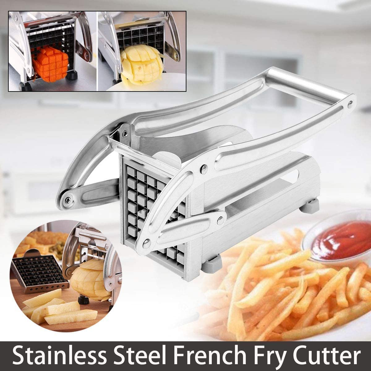 Set of Stainless Steel Potato Chipper /& Pizza Slicer-French Fries /& Pizza Slicer-Cutter Chopper for Fruit-Veg-Potato,Pizzas and Pastries