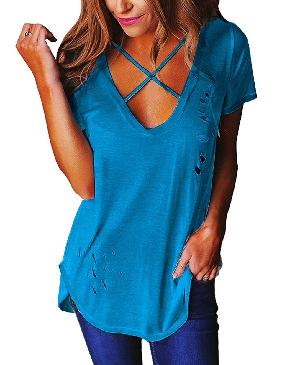 5f1380aa9d9c05 Relipop Women's Fashion Cross Front Deep V Neck Sexy Blouse Tops Shirts at  Amazon Women's Clothing store: