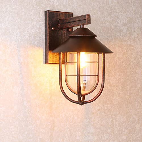 Jiuzhuo Industrial 1-Light Metal Cage Clear Glass Shaded Nautical Indoor Outdoor Wall Light in Antique Copper