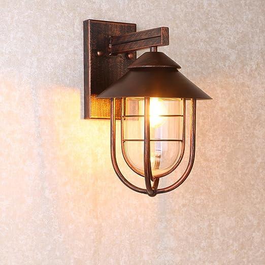 Amazon.com: jiuzhuo Industrial 1-Light jaula de metal vidrio ...