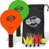 Jazzminton Paddle Ball Game with Carry Bag - Indoor Outdoor Toy - Play at The Beach, Lawn or Backyard - 2 Wooden Racquets - 4