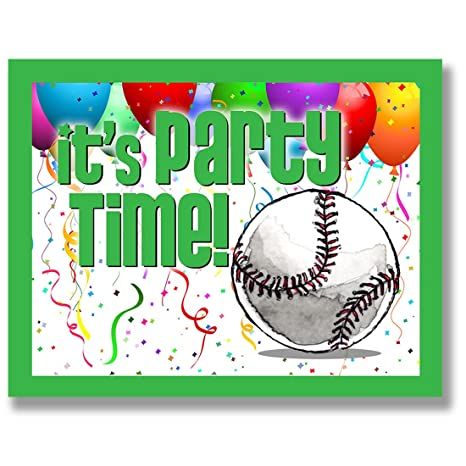 12 unidades invitaciones de fiesta de béisbol (verde, 4,25 ...