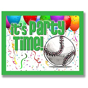12 Unidades Invitaciones De Fiesta De Béisbol Verde 4 25