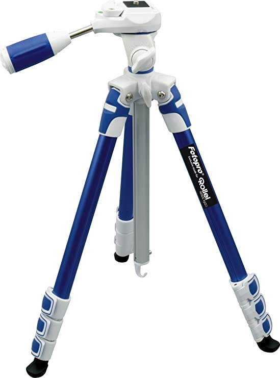 Fotopro S3 4 Section 57 Inch Aluminum Photo  amp; Video Tripod with 3 Way Panhead Payload   2.5kg  Blue  Tripods   Monopods