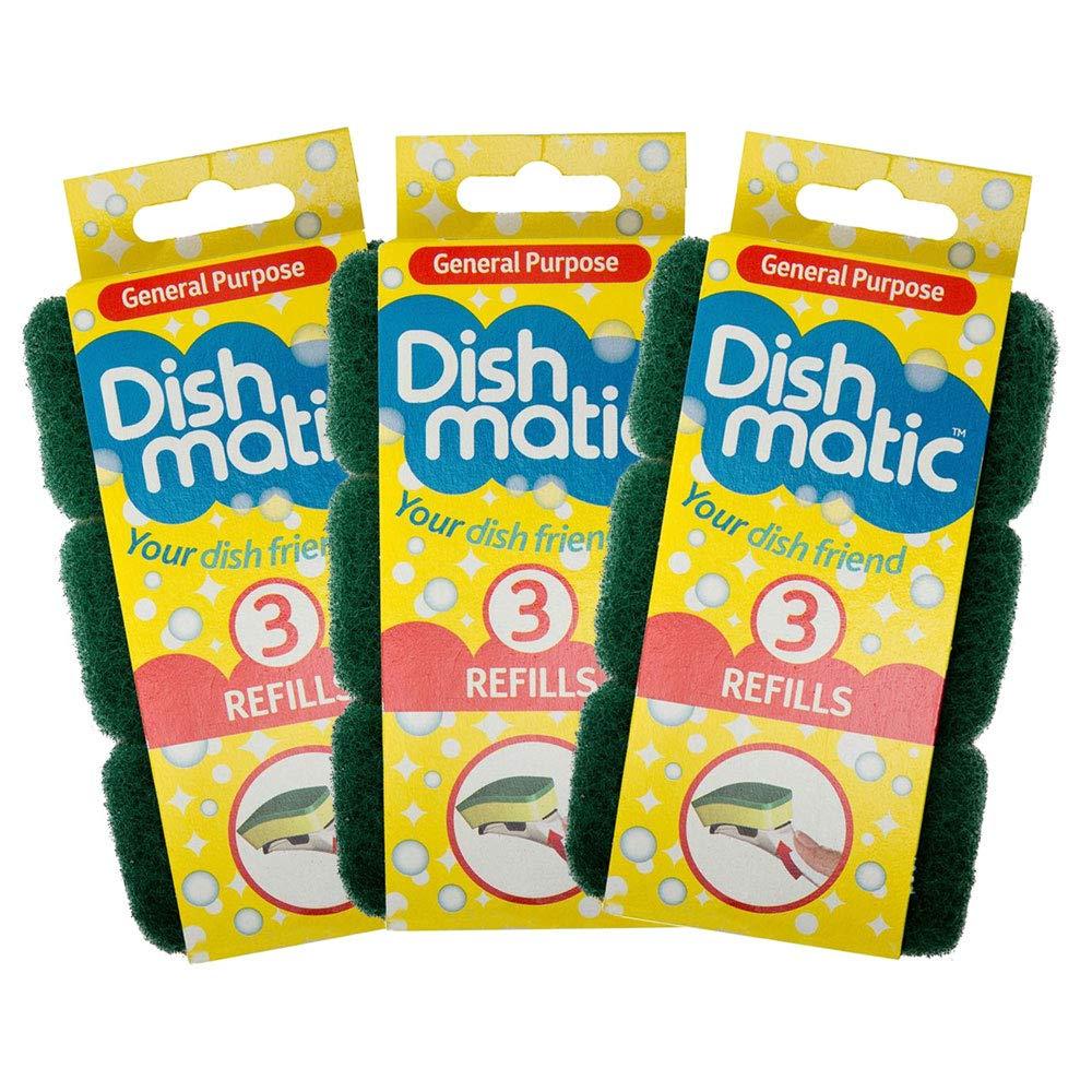 9x Heavy Duty Dishmatic Green Refill Sponges from Caraselle
